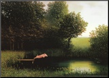 Kohlers Schwein (Herbst) Druck aufgezogen auf Holzplatte von Michael Sowa