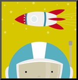 Peek-a-Boo Heroes: Astronaut Mounted Print by Yuko Lau