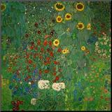 Boerentuin met zonnebloemen, ca. 1912 Kunstdruk geperst op hout van Gustav Klimt