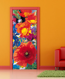 Red Poppies Door Wallpaper Mural Wallpaper Mural