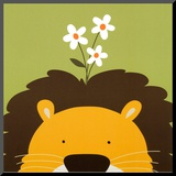 Peek-a-Boo IX, Lion Mounted Print by Yuko Lau
