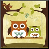 Two Owls on Swing Mounted Print by Nancy Lee