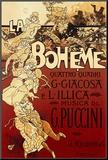 Reclameposter La Boheme, Musica di Puccini, Italiaanse tekst Kunstdruk geperst op hout van Adolfo Hohenstein