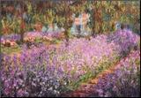 De tuin van Monet, Irissen Kunst op hout van Claude Monet
