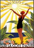 Reclameposter Côte d'Azur: Le Soleil Toute L'année Kunst op hout van Roger Broders