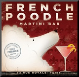 French Poodle Martini Mounted Print by Stephen Fowler