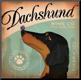 Daschund Wine Mounted Print by Stephen Fowler
