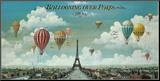 Ballonvaart boven Parijs met Engelse tekst: Ballooning Over Paris Kunstdruk geperst op hout van Isiah and Benjamin Lane