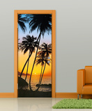 Sunny Palms Door Wallpaper Mural Mural de papel pintado