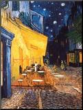 Caféterras bij nacht Kunstdruk geperst op hout van Vincent van Gogh