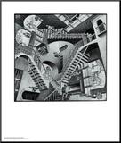 M. C. Escher - Relativita Reprodukce aplikovaná na dřevěnou desku