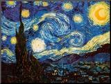 Sterrennacht, ca.1889 Kunstdruk geperst op hout van Vincent van Gogh