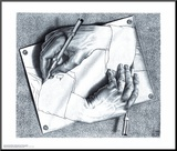 Drawing Hands Mounted Print by M. C. Escher