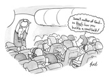 A flight attendant demonstrates how to buckle a seat belt to a cabin full … - New Yorker Cartoon Premium Giclee Print by Tom Toro