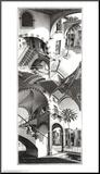 M. C. Escher - Nahoře adole (High and Low) Reprodukce aplikovaná na dřevěnou desku