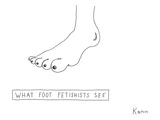 """WHAT FOOT FETISHISTS SEE"" A foot on which every toe is a breast with a ni… - New Yorker Cartoon Premium Giclee Print by Zachary Kanin"