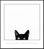 Nieuwsgierigheid, poster van kat met daarbij tekst: Curiosity Kunstdruk geperst op hout van Jon Bertelli