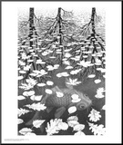 Three Worlds Mounted Print by M. C. Escher