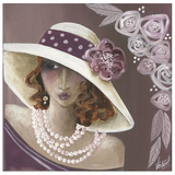 Femme Chapeau Blanc Et Rose Art by Véronique Didier-Laurent