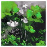 Green Flowers II Art by Nathalie Poulin