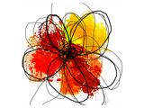 Abstrakt rød blomst med penselstænk II Giclee-tryk i høj kvalitet af Irena Orlov