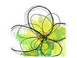 Abstrakt grøn blomst med penselstænk Giclee-tryk i høj kvalitet af Irena Orlov