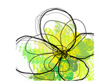 Green Abstract Brush Splash Flower Premium Giclee Print by Irena Orlov