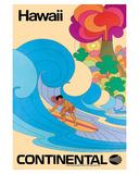 Continental Hawaii Surfer c.1960's Giclée-tryk