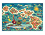 Dole Map of the Hawaiian Islands c.1950 Giclee Print by Joseph Fehér