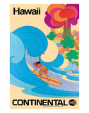 Continental Hawaii Surfer c.1960's Giclée-tryk