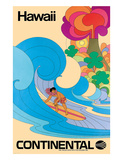 Continental Hawaii Surfer c.1960's Giclee Print