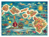 Dole Map of the Hawaiian Islands c.1950 Plakater af Joseph Fehér