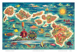 Dole Map of the Hawaiian Islands c.1950 Prints by Joseph Fehér