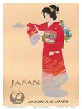 Japan Air Lines, Geisha c.1950's Plakater av  Mitsumura