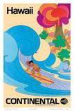 Continental Hawaii Surfer c.1960's Kunstdruck