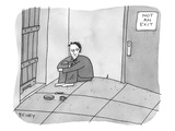 A prisoner hunches in the corner of a cell, between a bolted door and a se… - New Yorker Cartoon Premium Giclee Print by Peter C. Vey