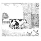 A cow has a spot that looks like a farmer. The spot appears to be milking … - New Yorker Cartoon Premium Giclee Print by John O'brien