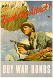 Back the Attack! Buy War Bonds WWII War Propaganda Art Print Poster Prints