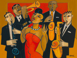 The Diva and her Horn Section Print by Marsha Hammel
