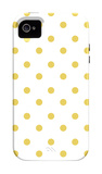 Yellow Polk-a-dots iPhone 4/4S Case by  Avalisa