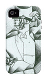 Man in Cafe iPhone 4/4S Case by Juan Gris