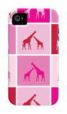 Pink Giraffe Squares iPhone 4/4S Case by  Avalisa