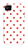 Red Polk-a-dots iPhone 4/4S Case by  Avalisa