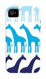 Blue Giraffe Family iPhone 4/4S Case by  Avalisa