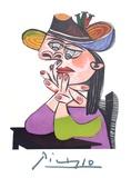 Femme Accoudee En Robe Mauve Et an Drapeau Impressão colecionável por Pablo Picasso