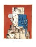 Visage sur Fond Rouge Impressões colecionáveis por Pablo Picasso