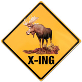 Moose Crossing Tin Sign