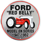 Ford Red Belly Model 8N Red Tractor Round Cartel de chapa