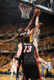 Indianapolis, IN - May 24: Miami Heat and Indiana Pacers - Tyler Hansbrough and Joel Anthony Photographic Print by Nathaniel S. Butler