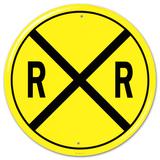 Railroad Crossing RR X-ing Round - Metal Tabela